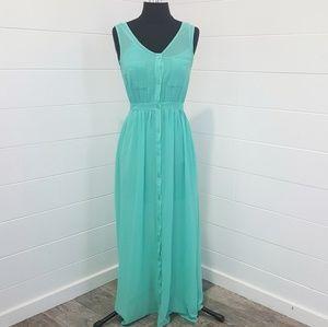 Forever 21 Aqua Mint Button Maxi Dress